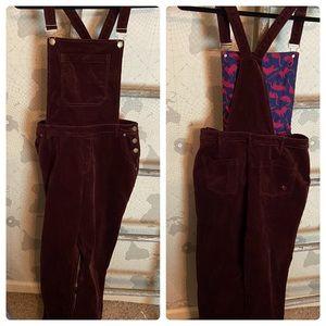 ModCloth burgundy overalls corduroy L EUC